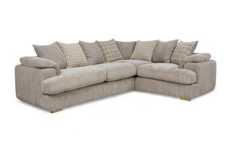 Left Arm Facing 2 Seater Pillow Back Deluxe Corner Sofa Bed