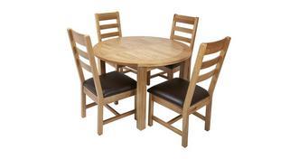 Chateaux Ronde uitstrekt eettafel en reeks van 4 stoelen met rugleuning horizontale latjes