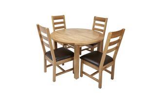 Ronde uitstrekt eettafel en reeks van 4 stoelen met rugleuning horizontale latjes  Chateaux