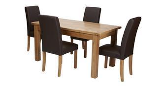 Chateaux Klein uitstrekt eettafel en reeks van 4 bruin nepleer eetkamerstoel