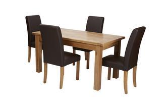 Klein uitstrekt eettafel en reeks van 4 bruin nepleer eetkamerstoel Chateaux