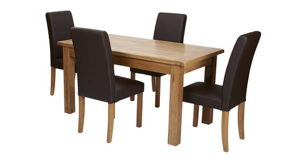 Chateaux Small Extending Table & Set of 4 Brown Faux Leather Chairs