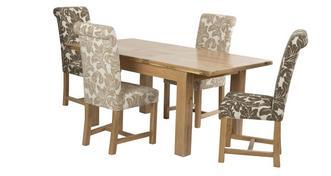 Chateaux Kleine uitschuiftafel en set van 4 Chicago Floral gestoffeerde stoelen