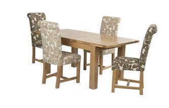 Kleine uitstrekt eettafel en reeks van 4 Chicago Floral gestoffeerde stoelen Chateaux