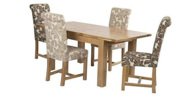 Chateaux Small Extending Table and Set of 4 Chicago Floral Upholstered Chairs