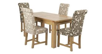Chateaux Grote uitschuiftafel en set van 4 Chicago Floral gestoffeerde stoelen