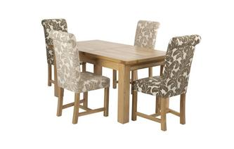 Grote uitstrekt eettafel en reeks van 4 Chicago Floral gestoffeerde stoelen Chateaux