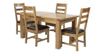 Chateaux Grote uitschuiftafel en set van 4 stoelen met horizontale latjes