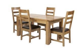 Grote uitstrekt eettafel en reeks van 4 stoelen met horizontale latjes Chateaux