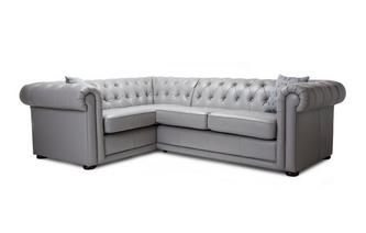 Leather Left Hand Facing Arm 2 Seater Corner Sofa Brooke