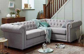 Chester Plain Left Hand Facing Arm 2 Seater Corner Sofa Abbey Plain