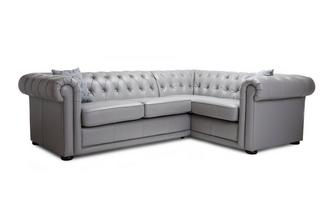 Leather Right Hand Facing Arm 2 Seater Corner Sofa