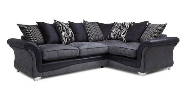 Clara Left Hand Facing 3 Seater Pillow Back Deluxe Corner Sofa Bed
