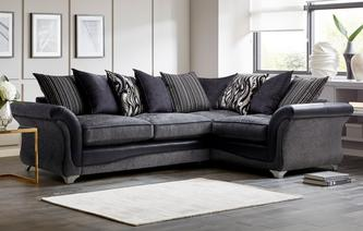 Clara Left Hand Facing 3 Seater Pillow Back Supreme Corner Sofa Bed Clara