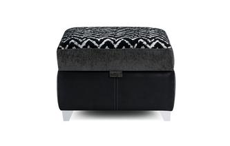 Pattern Top Storage Footstool Carrara