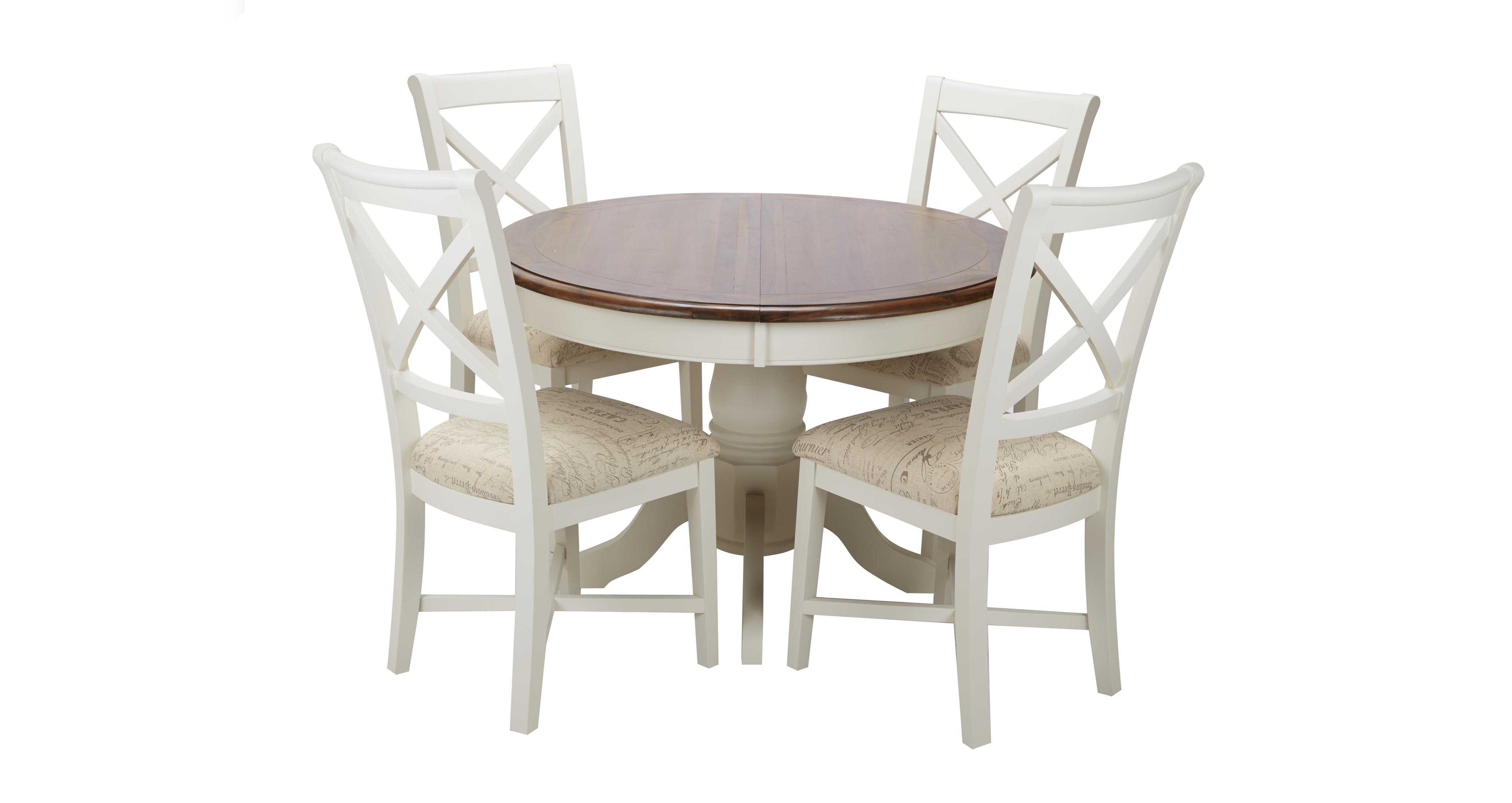 clermont round extending table & set of 4 cross back chairs | dfs