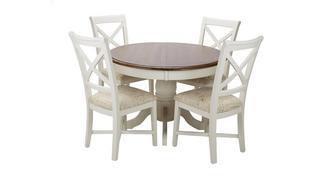 Clermont Ronde uitschuifbare eettafel en set van 4 stoelen met kruis rug
