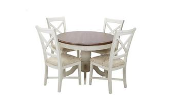 Round Extending Table & Set of 4 Cross Back Chairs Clermont