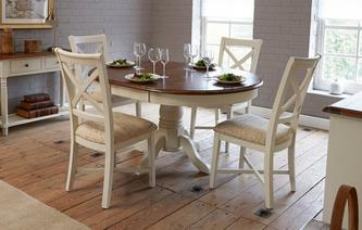 Clermont Round Extending Table & Set of 4 Cross Back Chairs Clermont