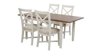 Clermont Rechthoekige uitschuifbare eettafel en set van 4 stoelen met kruis rug
