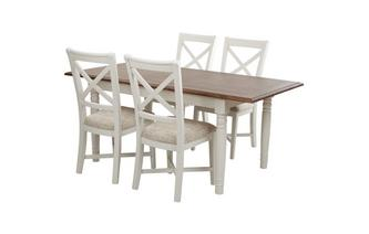Rectangular Extending Table & Set of 4 Cross Back Chairs Clermont