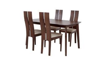 Uitstrekt eettafel en reeks van 4 lange rug stoelen Clifton
