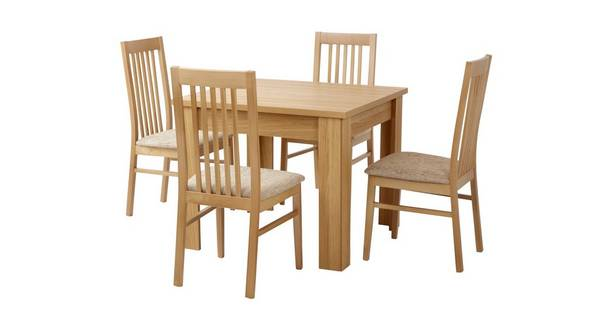 Clover Small Fixed Top Table & Set of 4 Slat Back Chairs