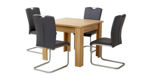 Clover Small Fixed Top Table & Set of 4 Cantilever Chairs