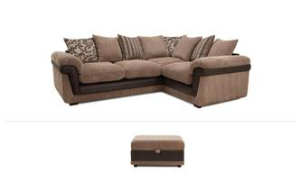 Coburn Clearance Left Hand Facing Corner Sofa & Stool Inception