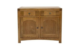 Small Sideboard with 2 Doors and 2 Drawers Colorado Oak