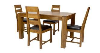 Colorado Kleine uitschuifbare eetkamertafel set van 4 stoelen met horizontale latjes