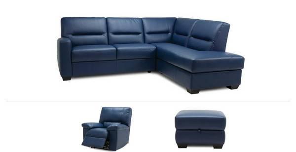 Comet Clearance Left Hand Facing Corner Sofa, Power Recliner Chair & Footstool