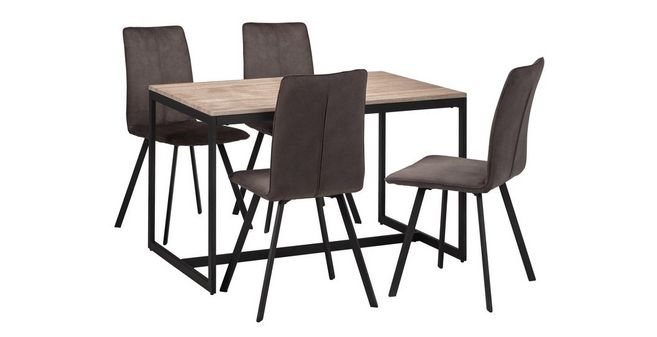 Outstanding Corsica Fixed Top Table And 4 Fabric Chairs Andrewgaddart Wooden Chair Designs For Living Room Andrewgaddartcom