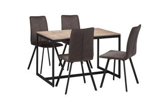 Fixed Top Table and 4 Fabric Chairs Corsica