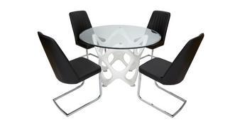 Crater Vaste tafel & set van 4 stoelen