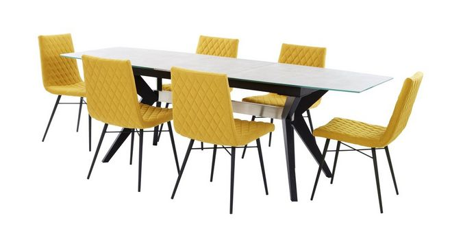 Crete: Extending Dining Table U0026 Set Of 6 Fabric Quilted Chairs