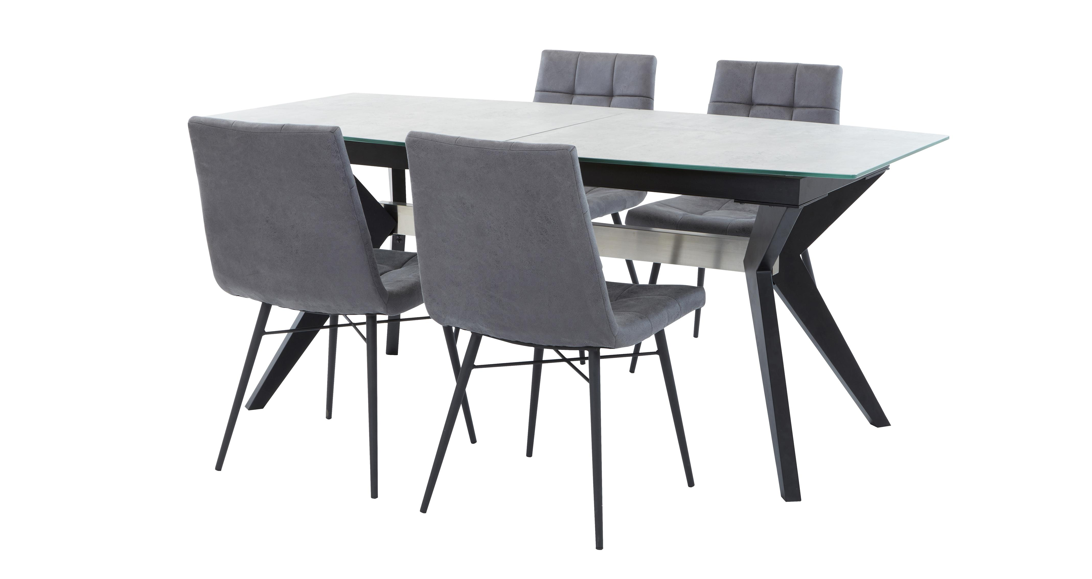 Superb Crete Extending Dining Table Set Of 4 Faux Dining Chairs Machost Co Dining Chair Design Ideas Machostcouk