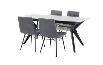 Extending Dining Table & Set of 4 Faux Dining Chairs Crete