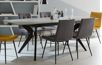 Crete Extending Dining Table & Set of 4 Faux Dining Chairs Crete