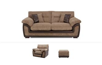 Crompton Clearance 3 Seater, Electric Recliner Chair and Storage Footstool Samson