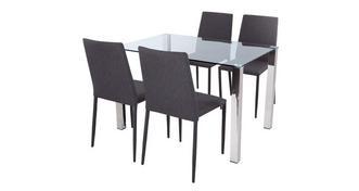 Cruzer Glass top eettafel & Set van 4 stoffen stoelen