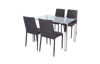Glass top eettafel & Set van 4 stoffen stoelen Cruzer