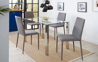 Cruzer Glass Top Table & Set of 4 Fabric Chairs Cruzer