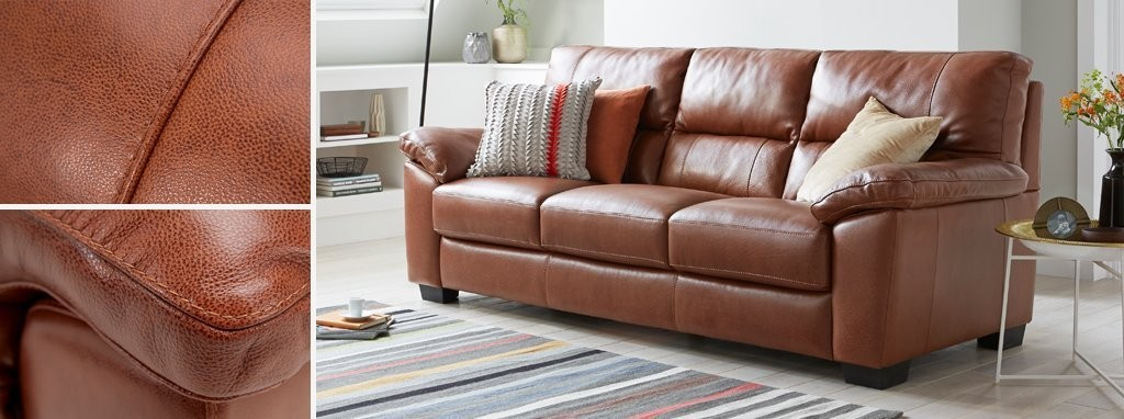 Dalmore 3 Seater Sofa Brazil With Leather Look Fabric Dfs