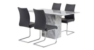 Damara Dining Table & Set of 4 Cantilever Chairs