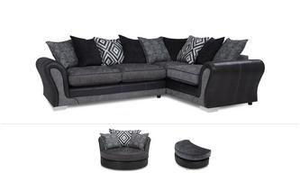 Darcey Clearance Left Hand Facing 3 Seater Pillow Back Corner Sofa, Swivel Chair & Half Moon Stool Darcey