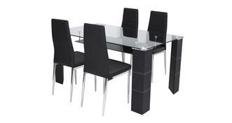 Dash Vaste tafel en set van 4 stoelen