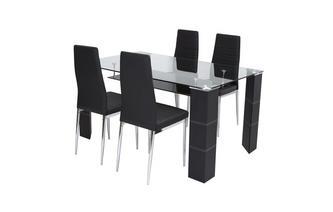 Vaste tafel en set van 4 stoelen Dash
