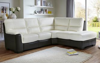 Daxton Leather And Leather Look Option A Left Hand Facing Arm 2 Piece Corner  Sofa Essential