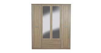 Delano 4 Door Mirrored Combi Hinge Robe